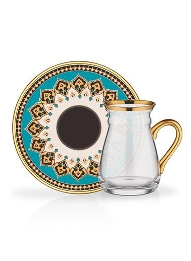 Glore Nihavent Artemis Gold Kulplu 6'Lı Çay Seti Altın